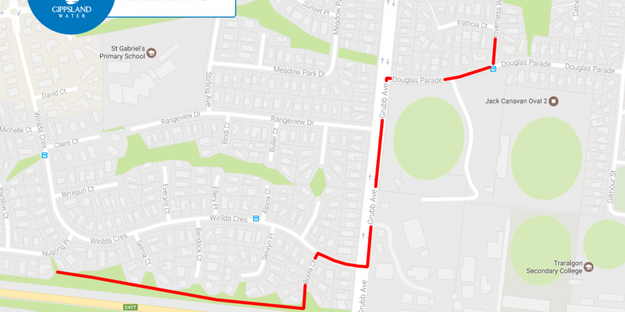 Traralgon Grubb Ave major sewer works route image for media release.png