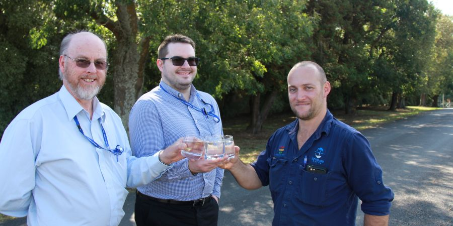 Chris Stockdale, Alan Parker and Paul McLure raise a glass to new opportunities .JPG